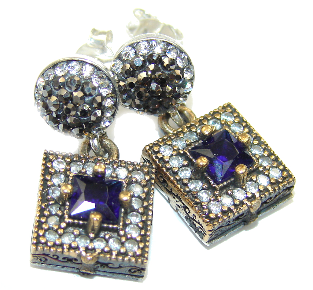 Victorian Style! Blue Sapphire & White Topaz Sterling Silver earrings