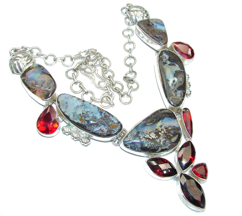 Very Unique Design! Boulder Opal & Garnet Quartz Sterling Silver necklace