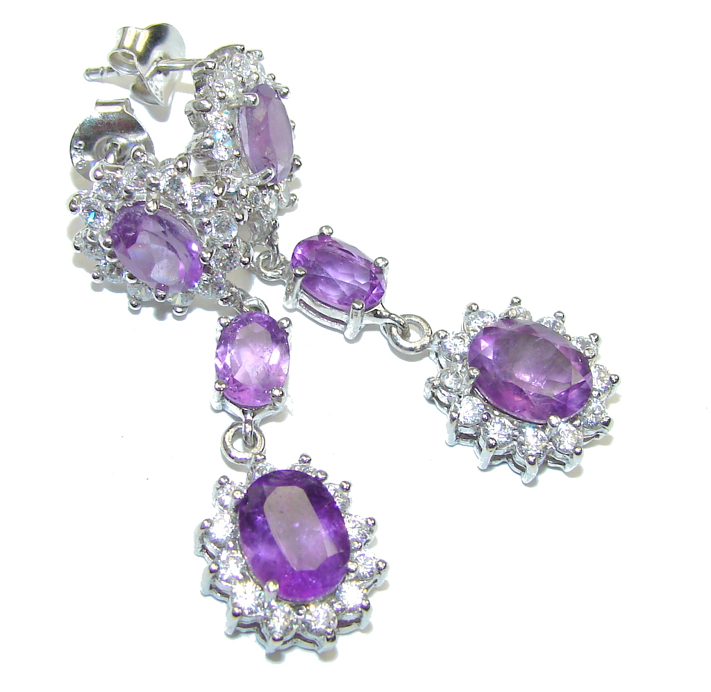 Beautiful Design! Purple Amethyst & White Topaz Sterling Silver earrings