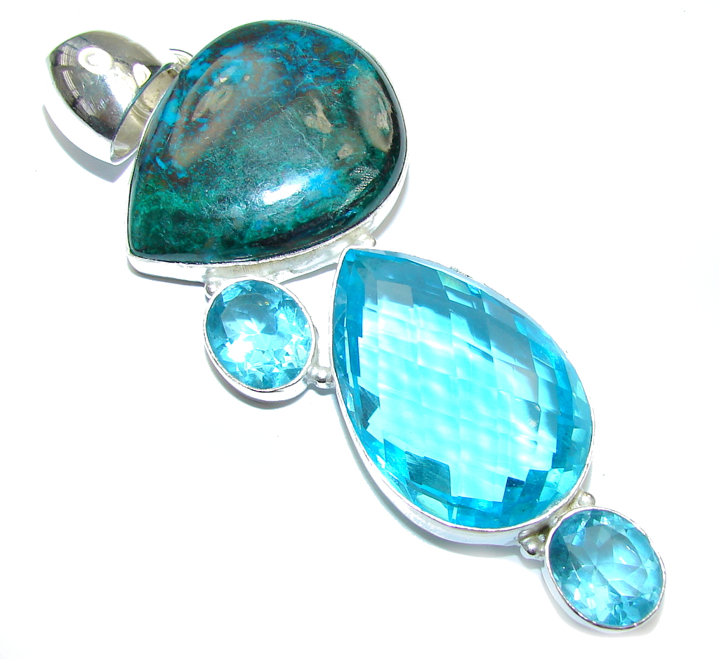 Big! Blue Ocean Secret Chrysocolla & Blue Topaz Sterling Silver Pendant