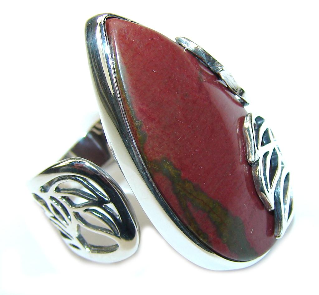 Beautiful Design! Red Sonora Jasper  Sterling Silver Ring s. 8 - adjustable