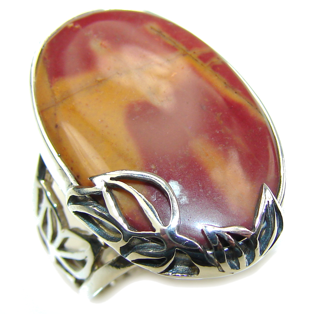 Bali Secret! AAA Red Creek Jasper Sterling Silver Ring s. 8- adjustable