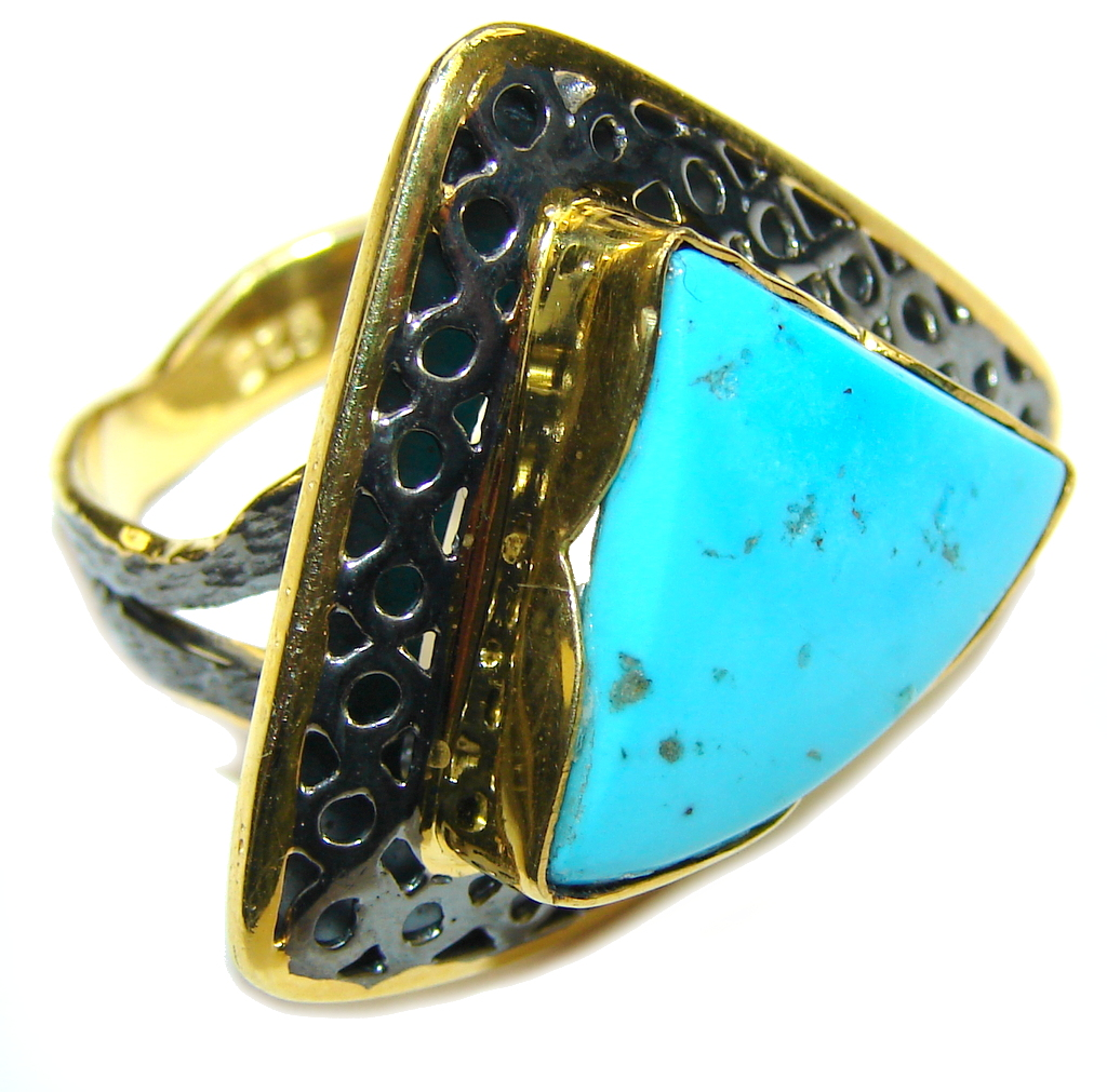 Sleeping Beauty! Blue Turquoise, Gold Plated, Rhodium Plated Sterling Silver ring s. 8