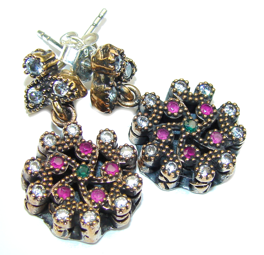 Victorian Style! Red Ruby & White Topaz & Sapphire Sterling Silver earrings