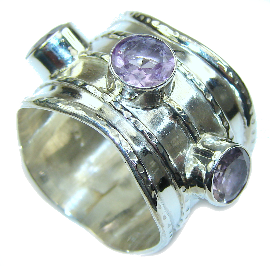 Amazing Light Purple Amethyst Sterling Silver ring s. 11