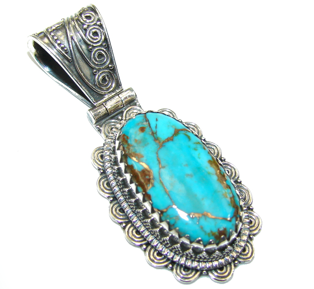 Bali Secret! Copper Blue Turquoise Sterling Silver Pendant