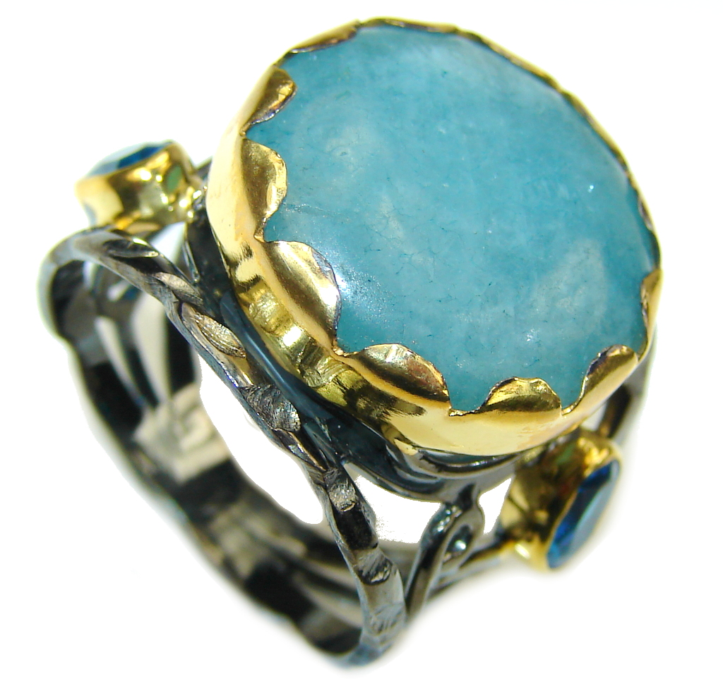 Brightened The Sky Blue Aquamarine Rhodium Plated Gold Plated Sterling Silver ring 9 1-2