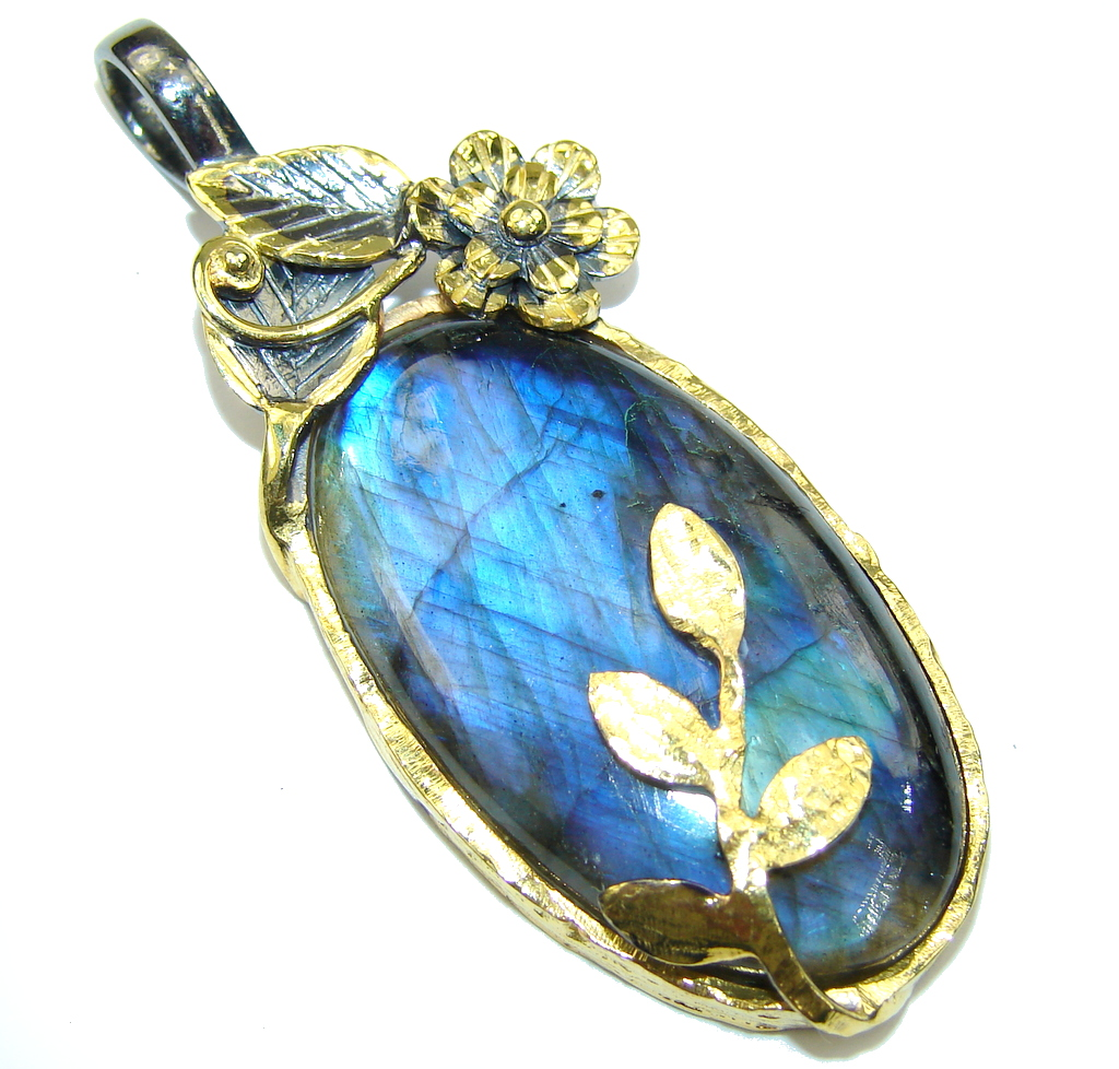 Exclusive AAA Blue Labradorite, Rhodium Plated, Gold Plated Sterling Silver Pendant