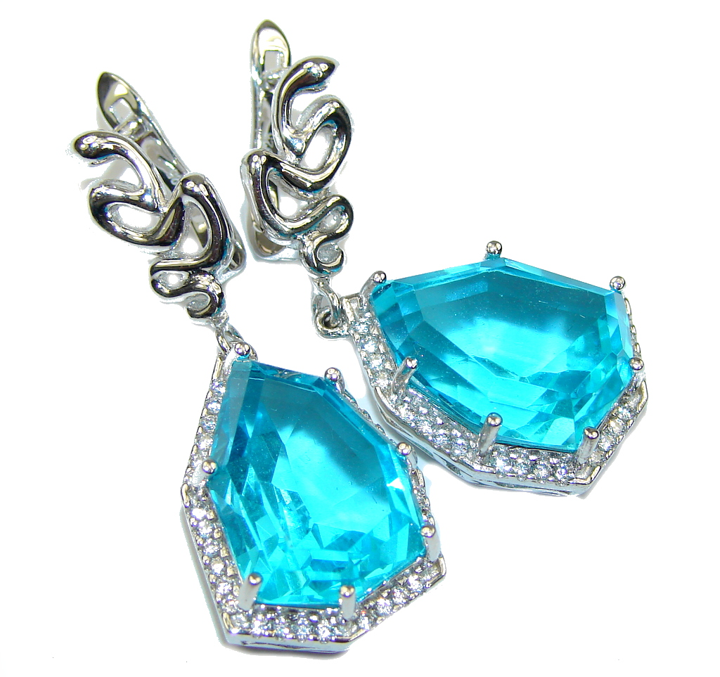 Big! Caribbean Water! AAA Blue Topaz & White Topaz Sterling Silver earrings