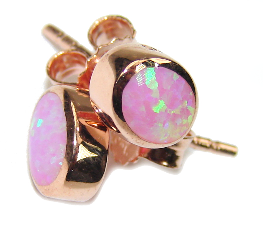 Amazing AAA Pink Japanese Fire Opal Rose Gold Sterling Silver earrings