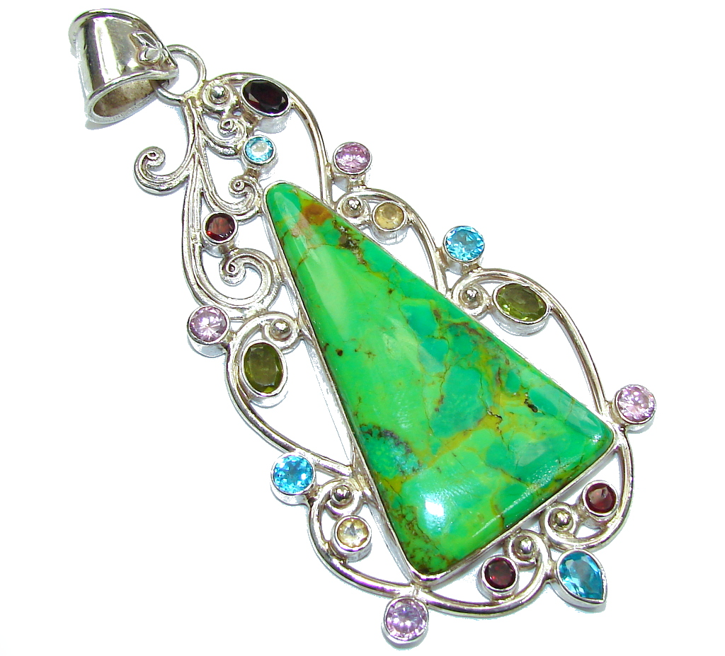 Enormous 4 1/4 inches long Stylish Green Turquoise Sterling Silver Pendant
