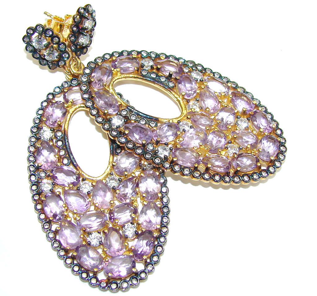 Big! Genuine Pink Amethyst & White Topaz, Gold Plated Sterling Silver earrings