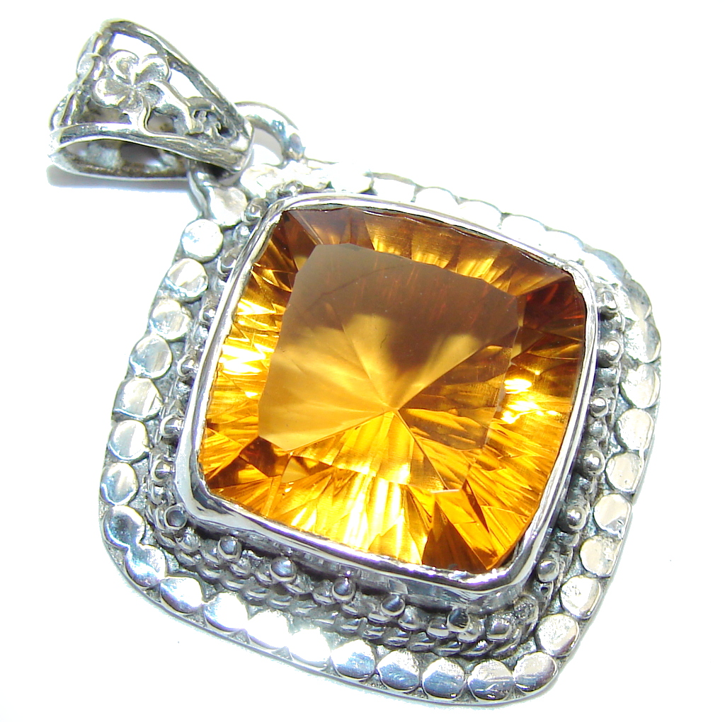 Bali Secret! Yello & Orange Citrine Sterling Silver Pendant