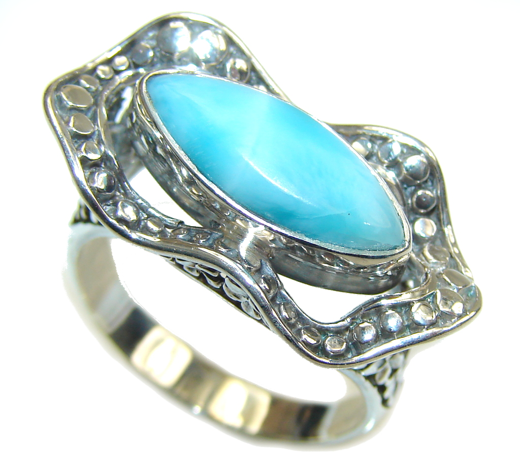 Amazing AAA Blue Larimar Sterling Silver Ring s. 9