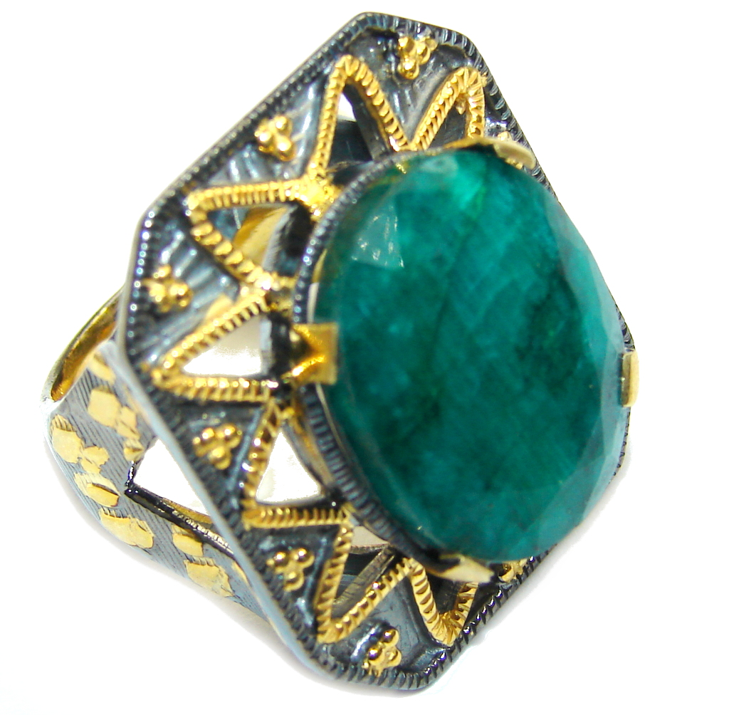 Gorgeous AAA Green Emerald, Rhodium Plated, Gold Plated Sterling Silver ring s. 8 1/4