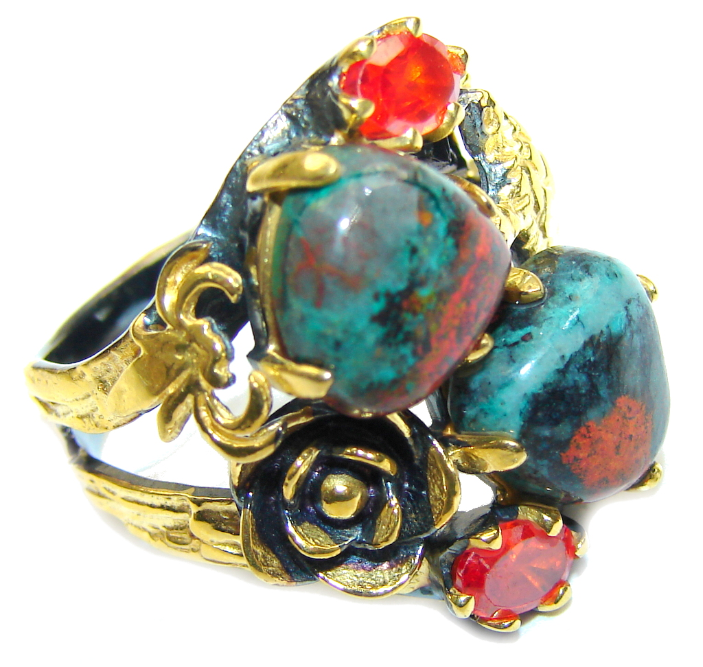 Beautiful DEsign! Red Sonora Jasper& Garnet Quartz, Gold Plated, Rhodium Plated Sterling Silver Ring s. 8 1/2