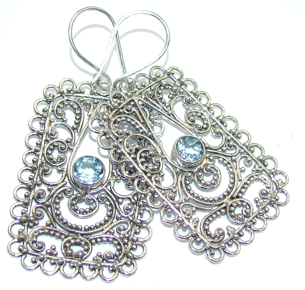 Bali Secret! Swiss Blue Topaz Sterling Silver earrings