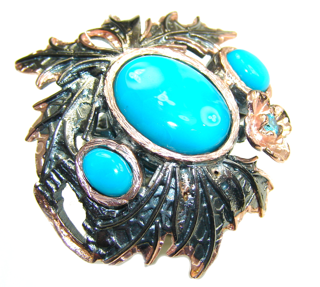 Big! Sleeping Beauty! Blue Turquoise, Rose Gold Plated, Rhodium Plated Sterling Silver ring s. 8 1/2