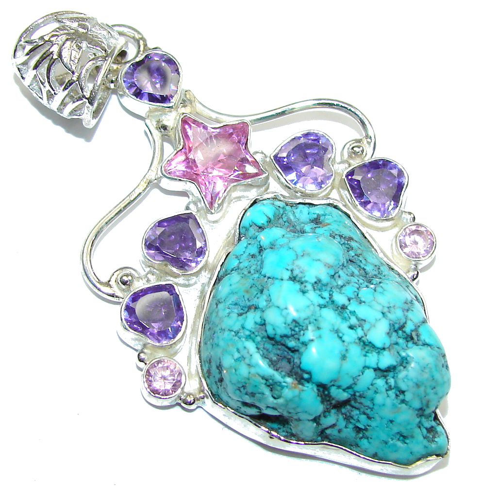 Big! Classi Beauty! Blue Turquoise Sterling Silver Pendant