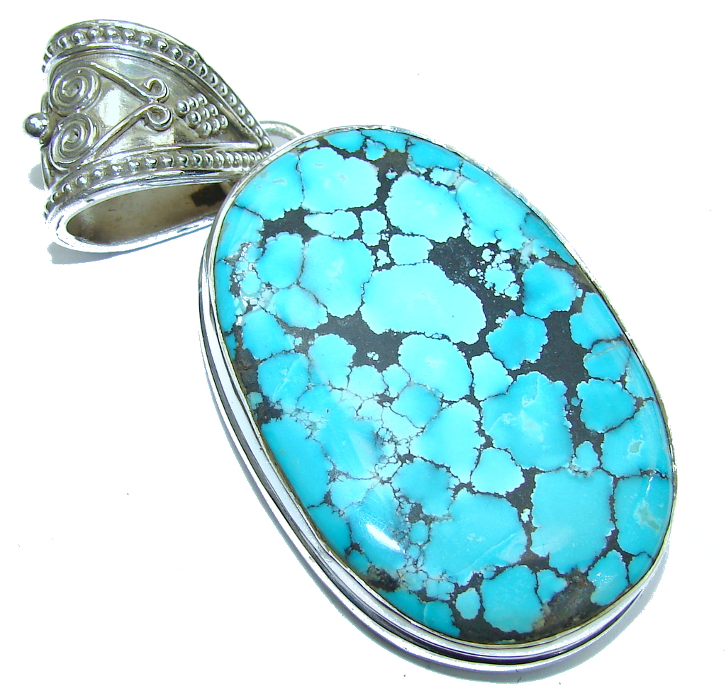 Amazing AAA Blue Turquoise Sterling Silver Pendant
