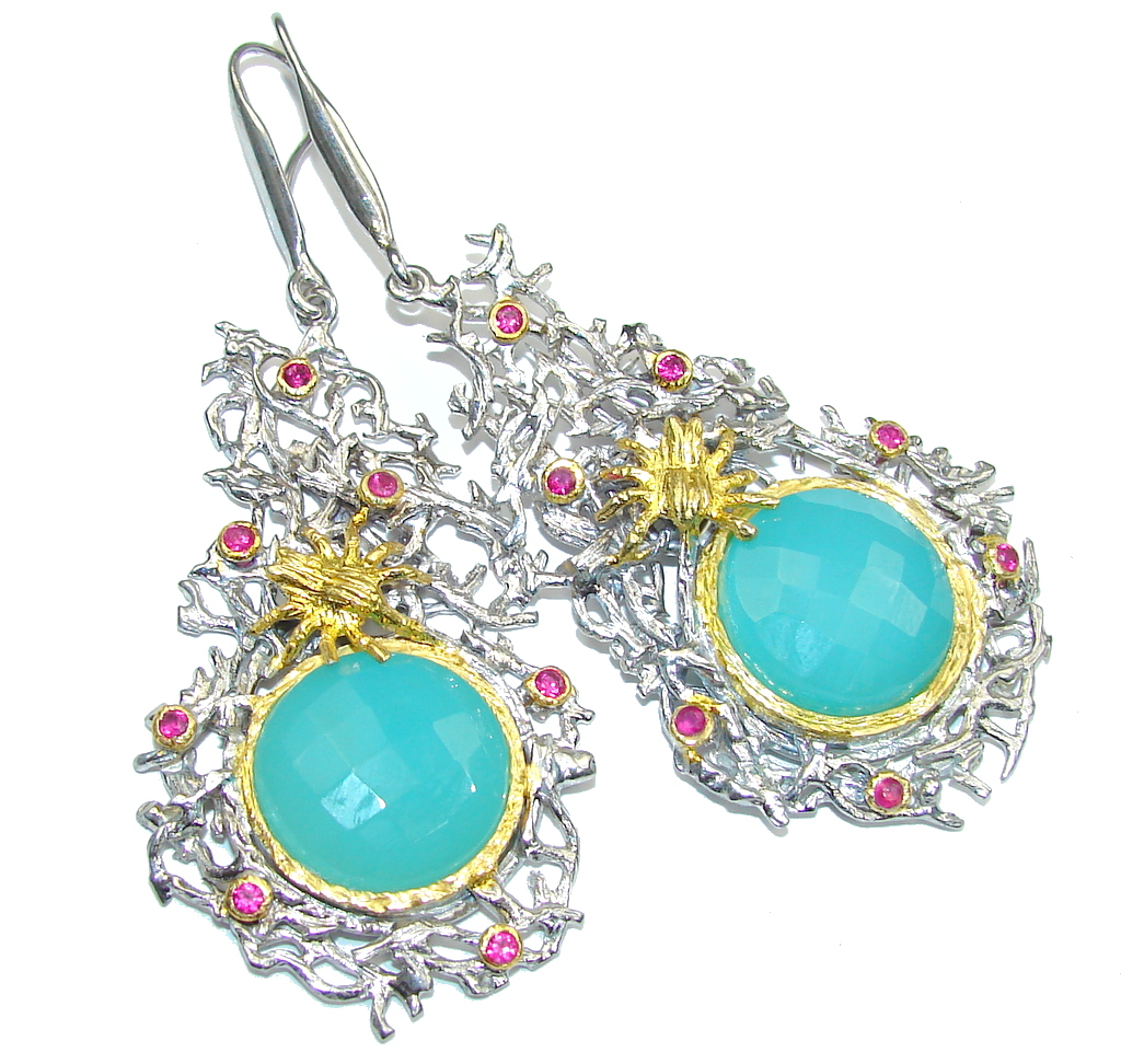 Big! Secret Ocean! LIght Blue Aquamarine, Two Tones Sterling Silver Earrings