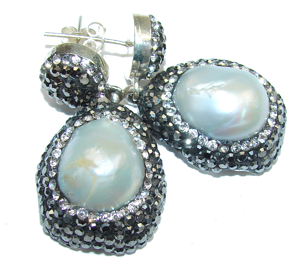 Exclusive Design! Mother Of Pearl & White Topaz Sterling Silver earrings