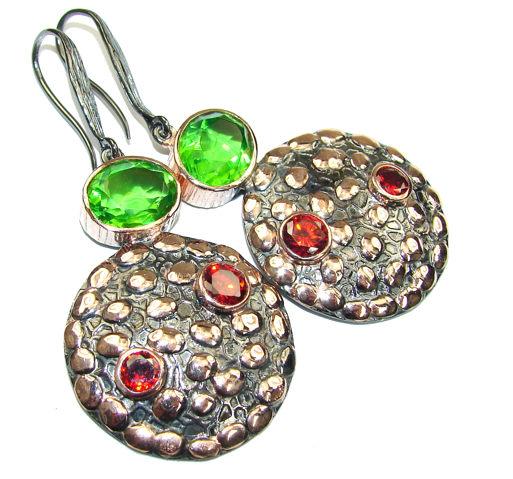 Beautiful! AAA Peridot Quartz & Garnet, Rose Gold Plated, Rhodium Plated Sterling Silver earrings