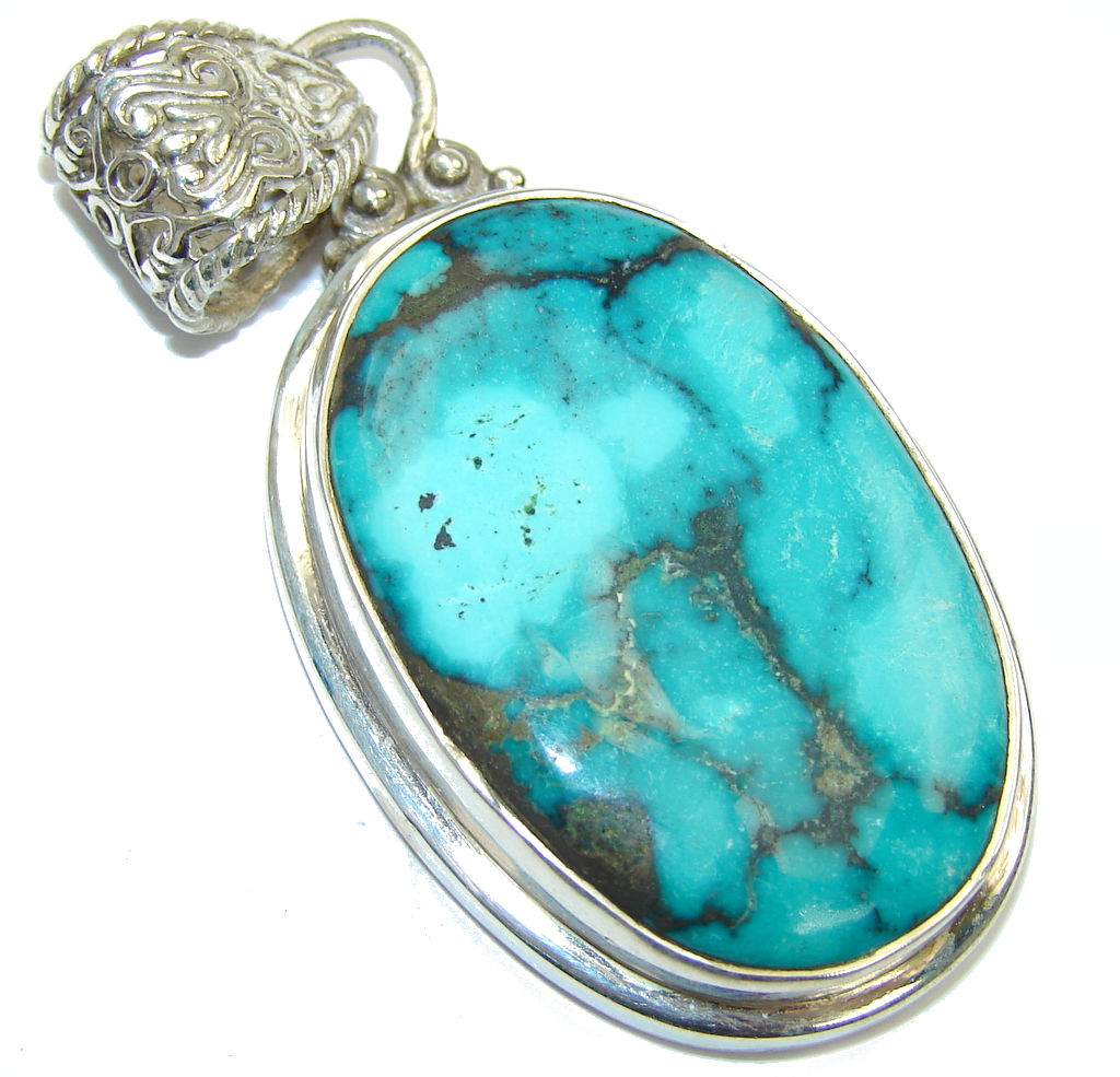 Natural AAA Blue Turquoise Sterling Silver Pendant