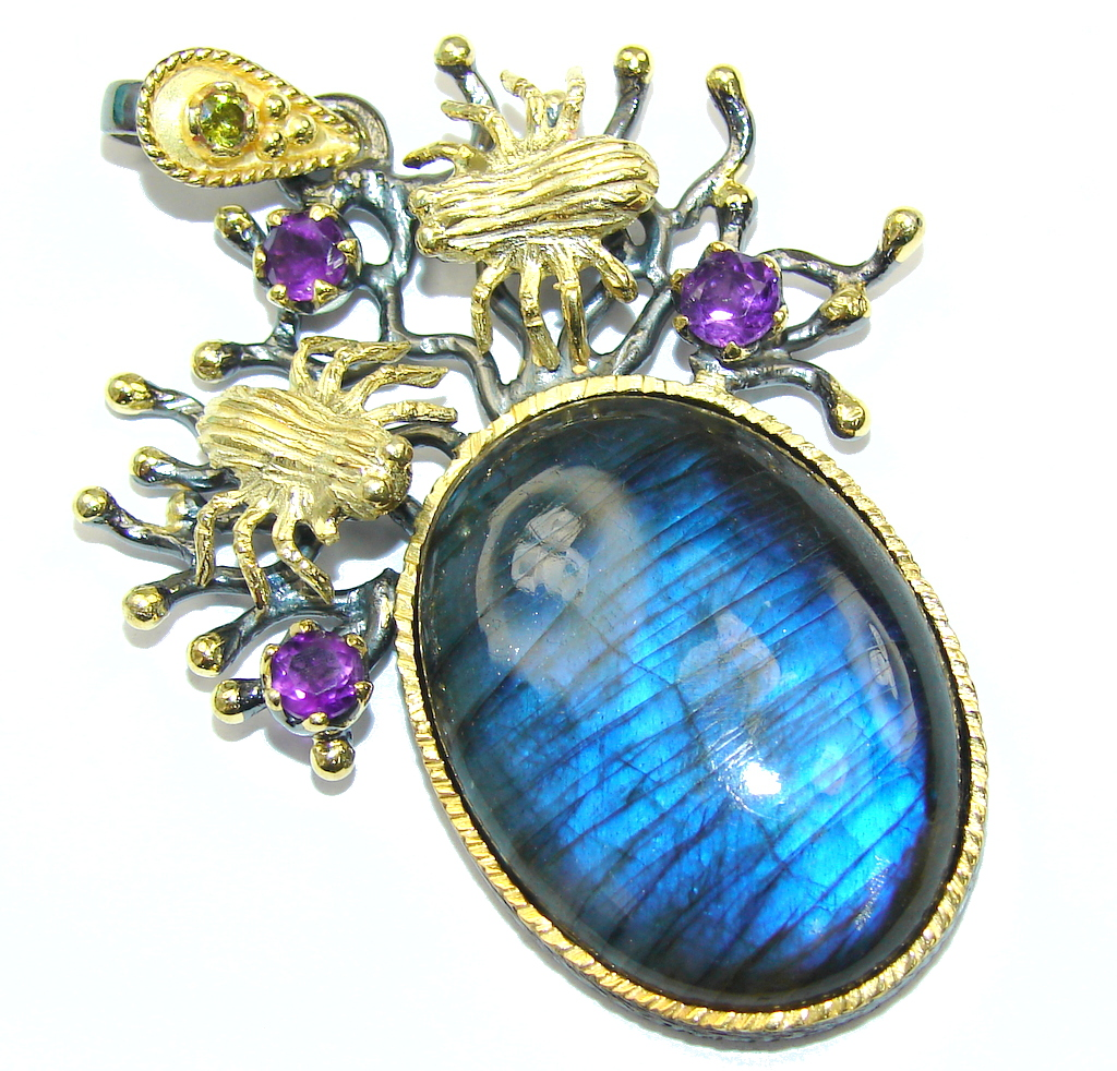 Exclusive AAA Blue Labradorite & Amethyst, Rhodium Plated, Gold Plated S..