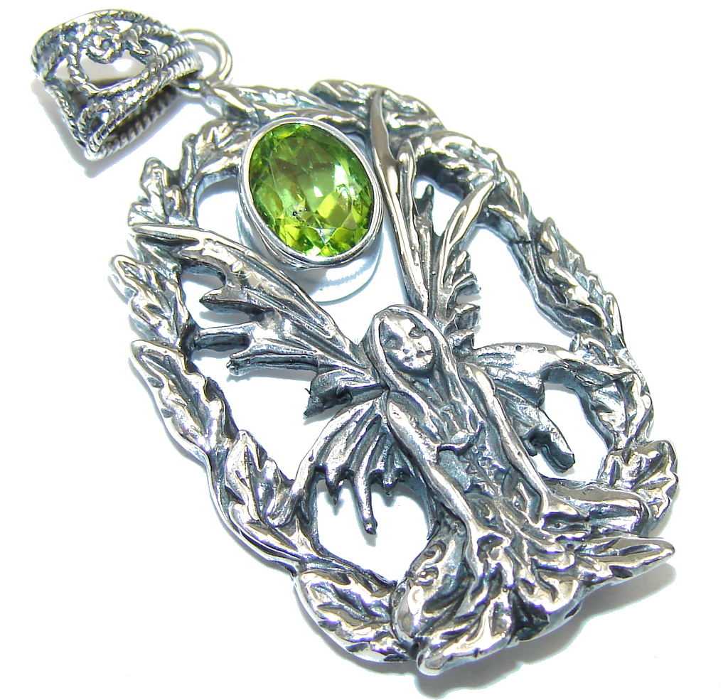 Delicate! Women with Wings Green Peridot Sterling Silver Pendant