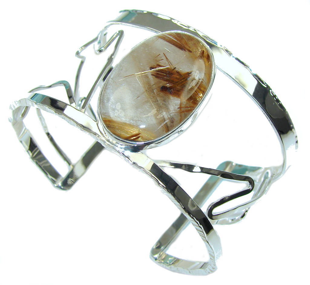 Perfection!! AAA Golden Rutilated Quartz Sterling Silver Bracelet / Cuff