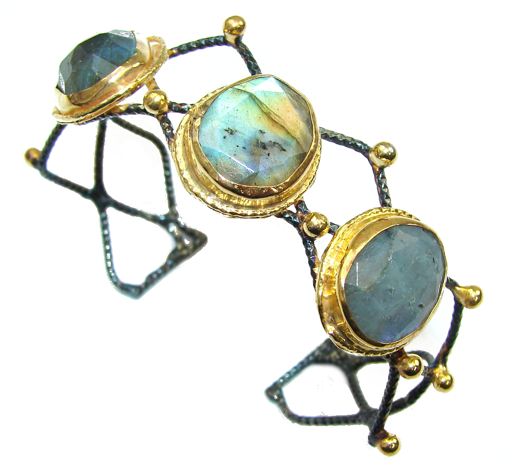 Exclusive Design! AAA Blue Labradorite, Gold Plated, Rhodium Plated Sterling Silver Bracelet / Cuff