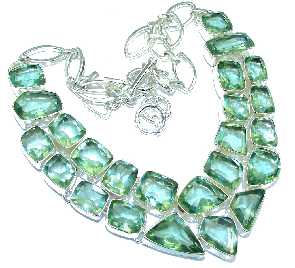 Green Island! Created Green Amethyst Sterling Silver necklace