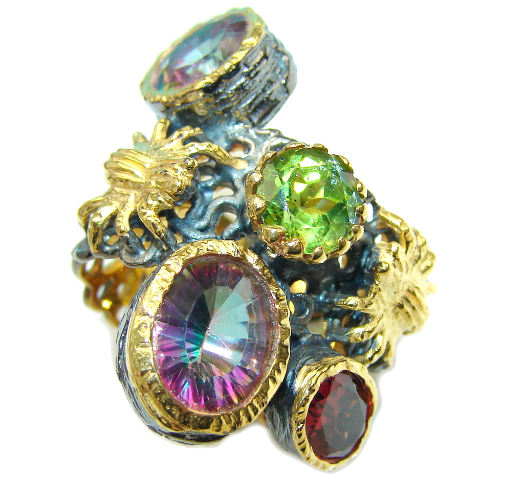 Amazing Rainbow Magic Topaz, Gold Plated, Rhodium Plated Sterling Silver ring; s. 8