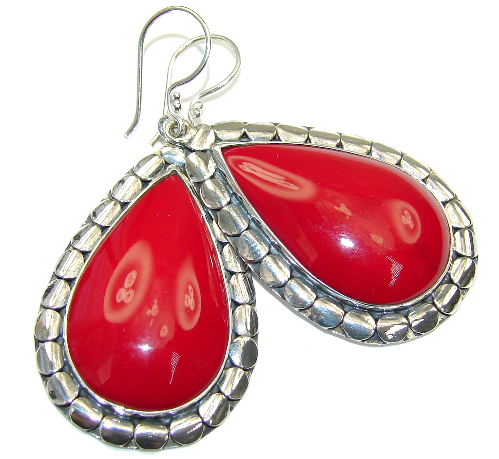Big! Deep Love Red Fossilized Coral Sterling Silver earrings
