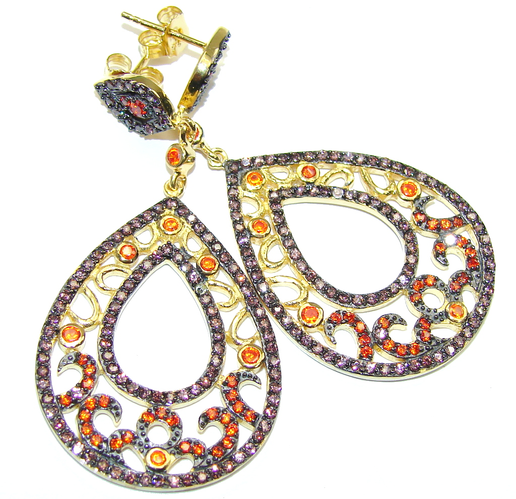 Genuine AAA Orange Sapphire Sterling Silver earrings