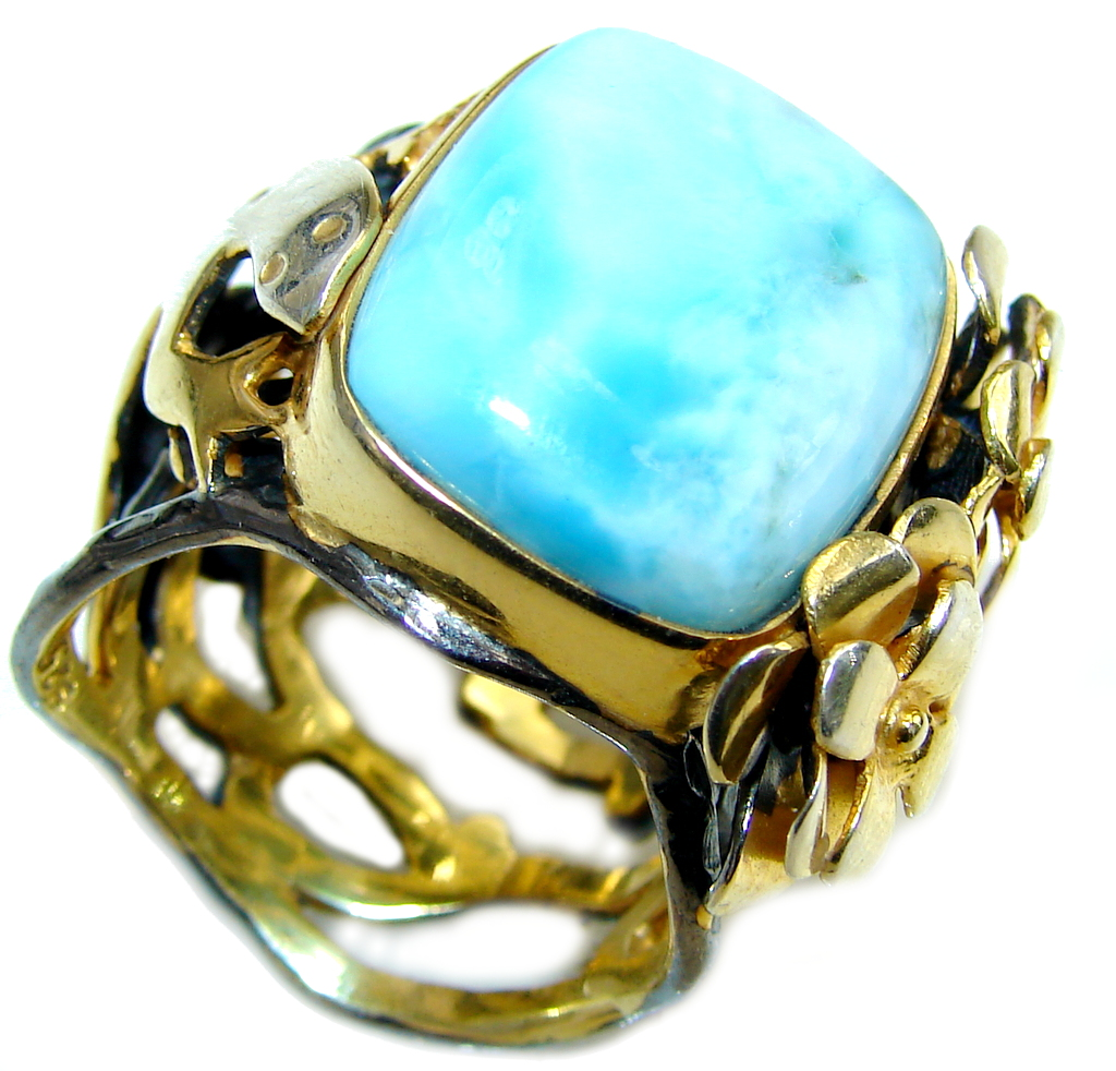 Beautiful AAA Blue Larimar, Gold Plated, Rhodium Plated Sterling Silver Ring s. 9