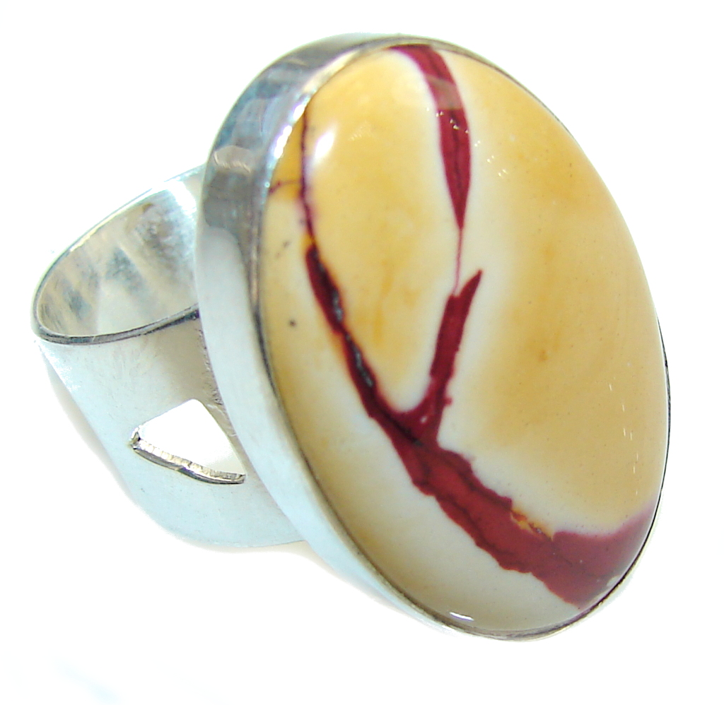 Amazing AAA Mookaite Sterling Silver Ring s. 6 -adjustable
