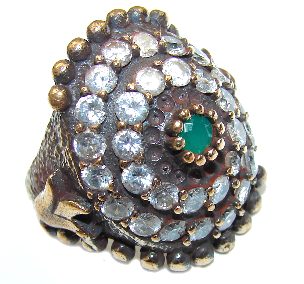 Victorian Style! Green Emerald & Ruby & White Topaz Sterling Silver ring s. 6 3/4