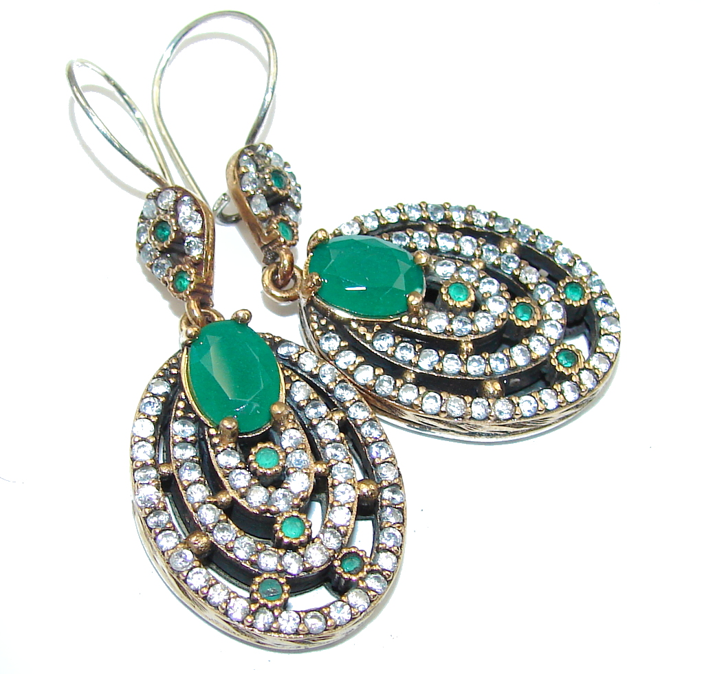 Victorian Style! Emerald & White Topaz Sterling Silver earrings