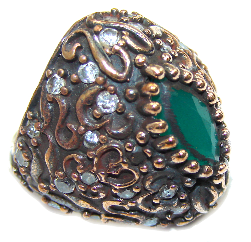 Victorian Style! Green Emerald & Ruby & White Topaz Sterling Silver ring s. 6