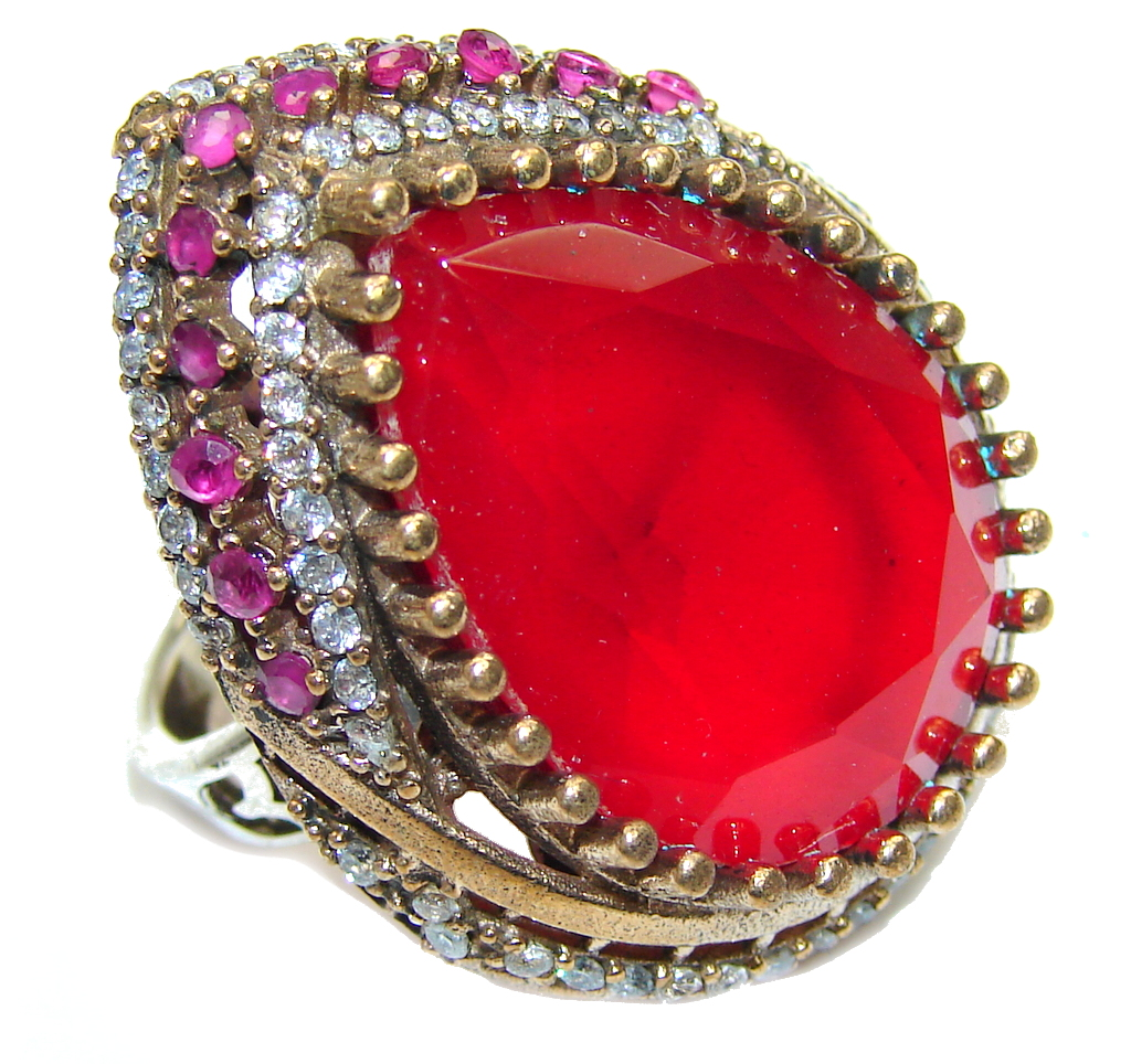 Huge Victorian Style Ruby color Quartz & White Topaz Sterling Silver Ring s. 7 1/4