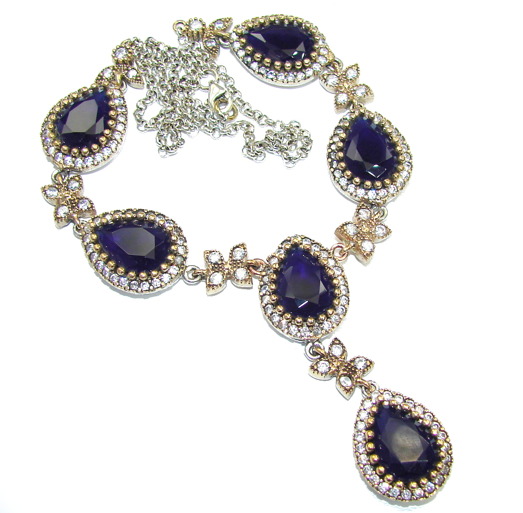 Awesome Quality Of Created Sapphire Sterling Silver necklace