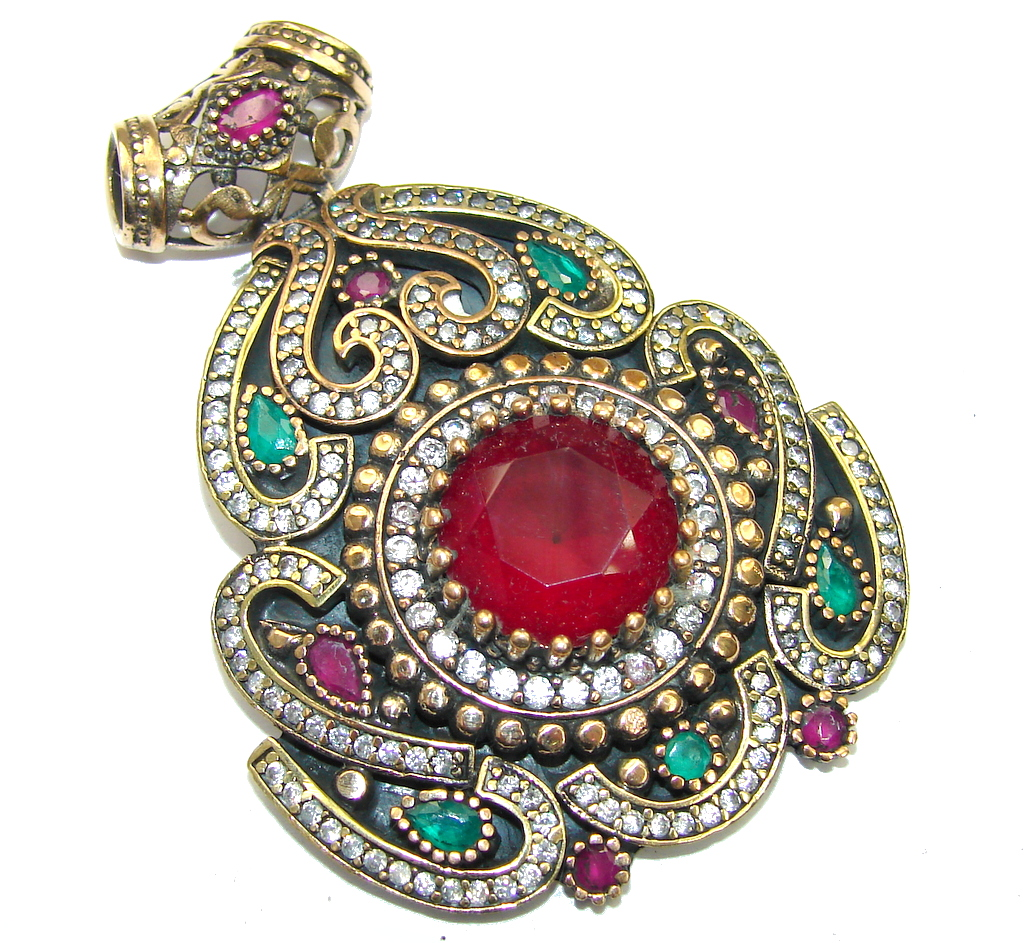 Big Victorian Style Red Ruby & Emerald Sterling Silver Pendant
