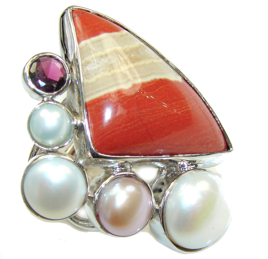 Big! Pale Beauty! Red Jasper & Fresh Water Pearl & Amethyst Sterling Silver Ring s. 7