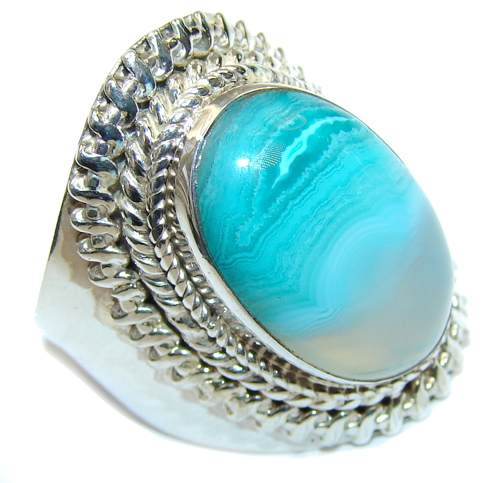 Amazing Blue Botswana Agate Sterling Silver Ring s. 12 1/2